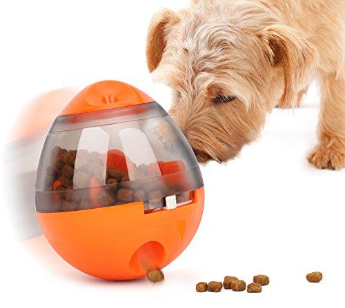 犬猫用 おやつボール - Pawaboo 犬 猫 餌入れ食器 餌やり エサ 犬猫用フード ペットおもちゃ 倒れないエッグ だるまボール 噛むおもちゃ ペット用品 玩具ボール 遊び 早食い防止/知育玩具 オレンジ