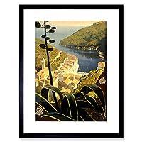 Travel Tourism Italian Riviera Portofino Bay Sea Framed Wall Art Print 旅行観光イタリアの壁