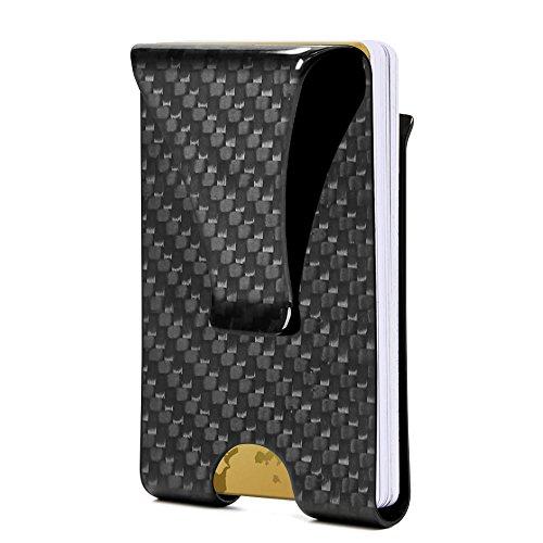 [TOTOBAY](改良版) マネークリップ 炭素繊維 超軽量 薄型 RFID&磁気スキミング防止 超薄型 名刺入れ クリップ付き