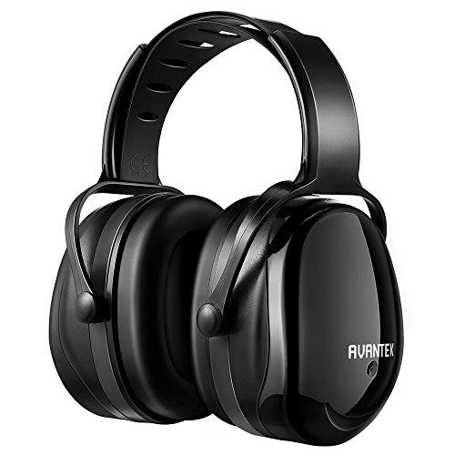 AVANTEK 防音イヤーマフ 遮音値34dB 軽量 金属なし 耐摩素材 超弾力性ヘッドバンド ANSI S3.19&CE EN352-1認証済み 聴覚保護 (ブラック)