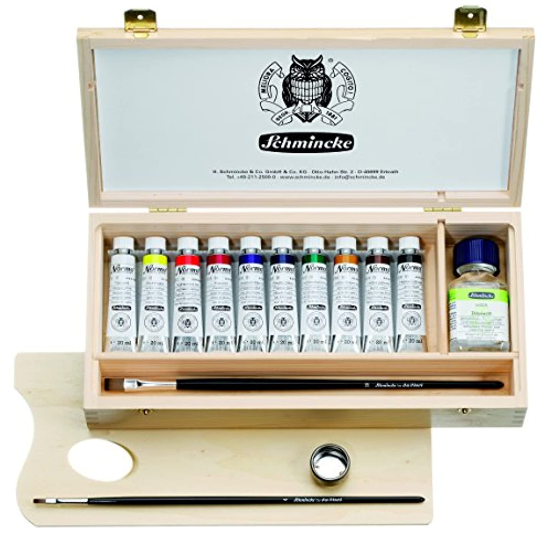 賢明な船形広大なSchmincke Norma Professional Oil 20 mlペイントチューブセットin木製ボックス、Includes Jar of Diluent N、2ブラシとパレット、10色セット(71210097 )