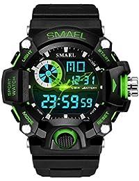 SMAEL多機能デジタルメンズ腕時計 男性用LEDクォーツウォッチ アナログ デジタル 日常防水(グリーン)