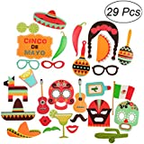 OULII 29個写真ブース小道具Fiesta Party Supplies Mexican Carnivalお土産ウェディング誕生日パーティーFavors