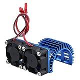 Mxfans アルミ合金 540 550モーターヒートシンク 2冷却ファンを付ける RC1:10カーのため N10074 (ダークブルー)