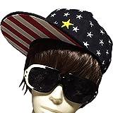 DUSTSTROKE 星 ドット 総柄 ツバ 裏 赤 白 ストライプ スナップバック キャップ ブラック ネイビー ( 2色 から 選べる )ユニセックス メンズ レディース ストリート カジュアル アメカジ ロック ヒップホップ ダンス 帽子 (ブラック)