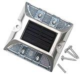 4 LED 道路 鋲 路肩 標 誘導 灯 ソーラー 充電 式 セット ( 白 点滅 1個 + 固定用 ビス 3本 )