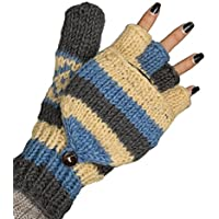 Convertible 100% Wool Mittens Gloves Soft Pure Winter Warm Thinsulate Thermal Blue Medium