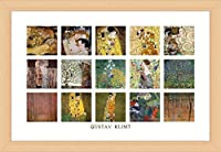 "Alonlineアート–Mother Child Kissブナ材コラージュ15Gustav Klimtブナフレーム入りポスター(印刷綿100%キャンバス発泡ボードon )–Ready To Hang | 40"" x26"" | Framed Printフレーム入りPaints Framed Decor"