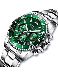 [メガリス]MEGALITH 腕時計 メンズ時計クロノグラフ防水 多針アナログクオーツウオッチステンレススチール 日付 夜光金属 ラグジュアリー おしゃれ ビジネス カジュアル メタル男性腕時計 グリーン