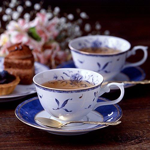 NARUMI ペレーネブルー ティーコーヒー兼用カップ&ソーサー(5客)200cc  陶磁器 40721-32304
