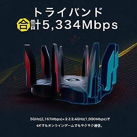 TP-Link WiFi ルーター ゲーミング 無線LAN ルーター トライバンド MU-MIMO 2167 + 2167 + 1000 Mbps 3年保証 Archer C5400X