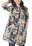 (ヴォンヴァーグ) ventvague ロング 綿 麻 リネン シャツ 長袖 花柄青 赤 L XL トップス レディース (XL, ブルー)