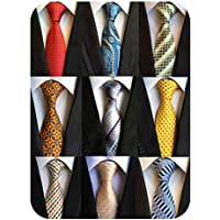 YanLen Men's Lot 9 Pcs Classic Tie Necktie Woven Jacquard Neck Ties