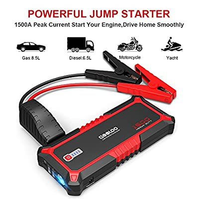 GOOLOO 1500A Peak SuperSafe Car Jump Starter Quick Charge 3.0 Auto Booster Power Pack, Power Delivery 15W USB Type-C in and Out Portable Phone Charger, Built-in LED Light and Smart Protect