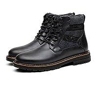 メンズ ブーツ マーティンブーツ エンジニアブーツ ショ防水 滑り止め本物の革マーティンブーツ,ブラック
