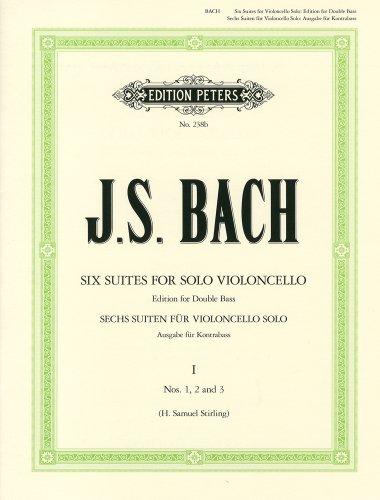 バッハ, J. S. : 無伴奏チェロ組曲 第1巻 : BWV 1007-1009/コントラバスのための編曲/ペータース社