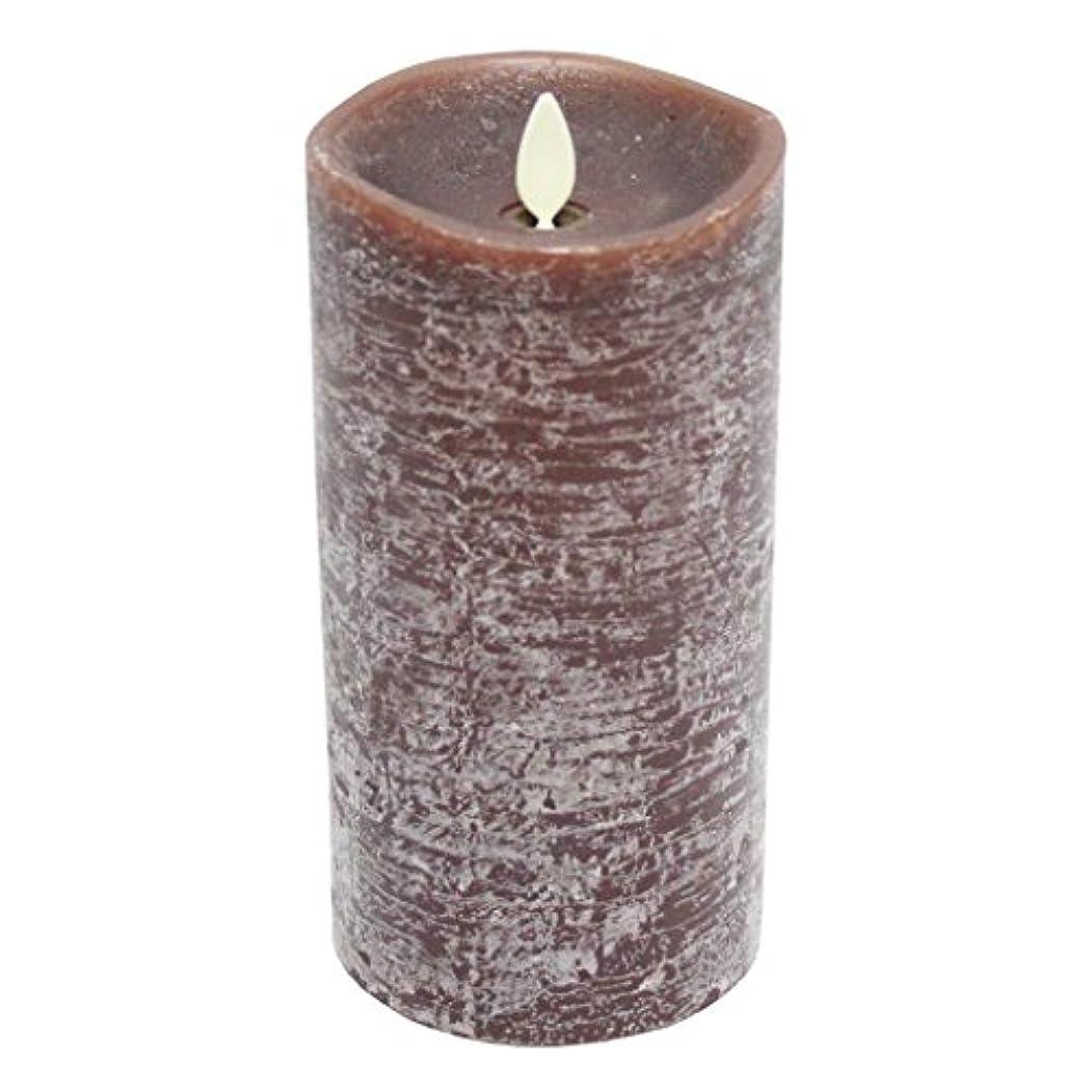 限界喜びトラックLuminara素朴なブラウンFlamelessちらつきPillar Candle withサンダルウッド香り – 3.5 X 7 In