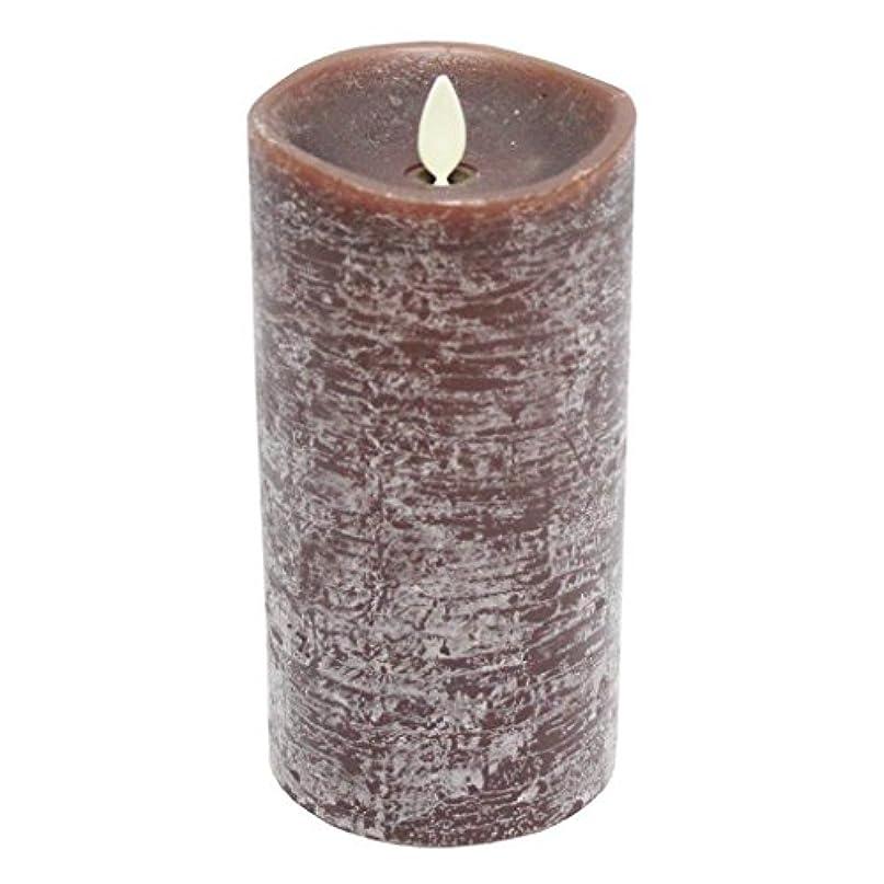 甘やかす理論部門Luminara素朴なブラウンFlamelessちらつきPillar Candle withサンダルウッド香り – 3.5 X 7 In