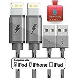 Lightningケーブル、GCT Iphone充電器2- Pack 6.6Ftナイロン編組8ピン充電ケーブルUSB充電器コード、互換性for iPhone X / 8/ 8Plus / 7/ 7Plus / 6/ 6Plus / iPad and More (グレー)