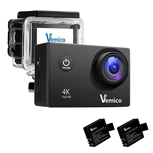 Vemico アクションカメラ 4K WIFI搭載 1600万画素 1080P 2インチ液晶画面 170度広角 40m防水 スポーツカメラ バイクや自転車/カート/車に取り付け可能 スポーツや空撮に最適 複数のアクセサリー 二つ電池式取付自由 (ブラック) -