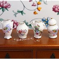 Bobominiworld 4 Pcs Porcelain Flower Pattern Vases Dollhouse Miniatures Decoration 1:12 Scale Height 2cm White