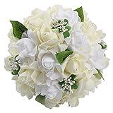 OurWarmウェディングブーケ ブーケ 花嫁 ブライダル ブーケ 結婚式 花嫁 披露宴 造花 バラ 花束 アイボリー色
