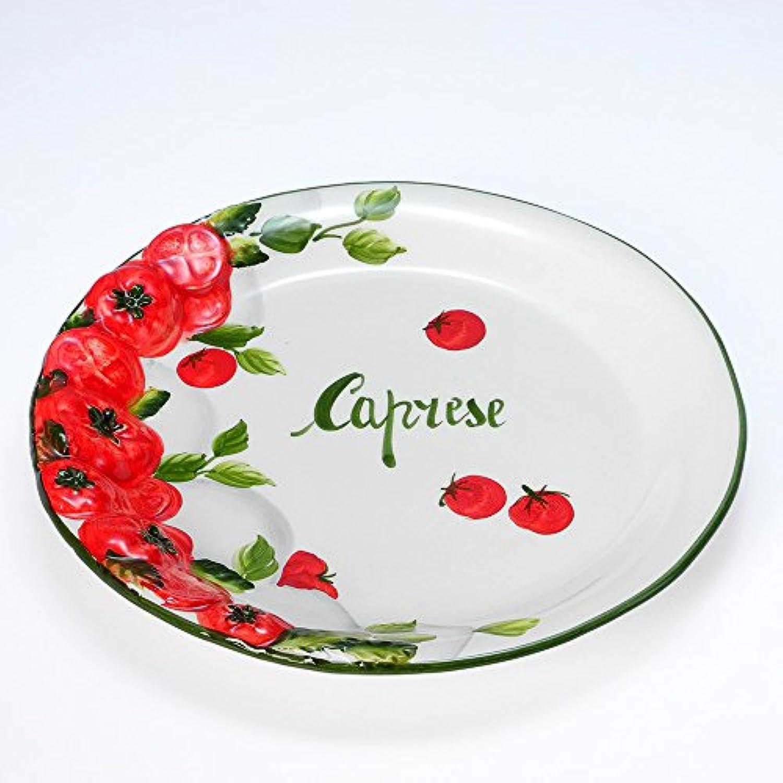 イタリア製 赤 トマト柄 陶器 ディナープレート 30cm カプレーゼ 大皿 パーティープレート bre-1490-30cp