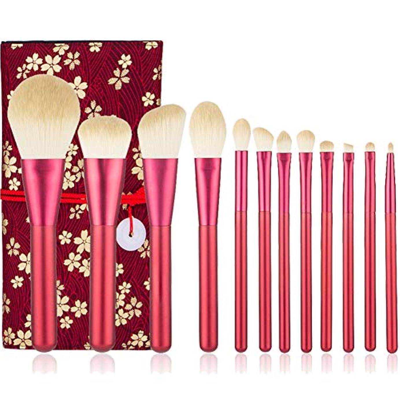 縞模様の代表オープニングAEDO メイクブラシ セット&高級天然毛メイクブラシセット 化粧ブラシセット メイクブラシ 化粧筆 化粧ブラシ 専用ブラシセット化粧ポーチ付 (赤)