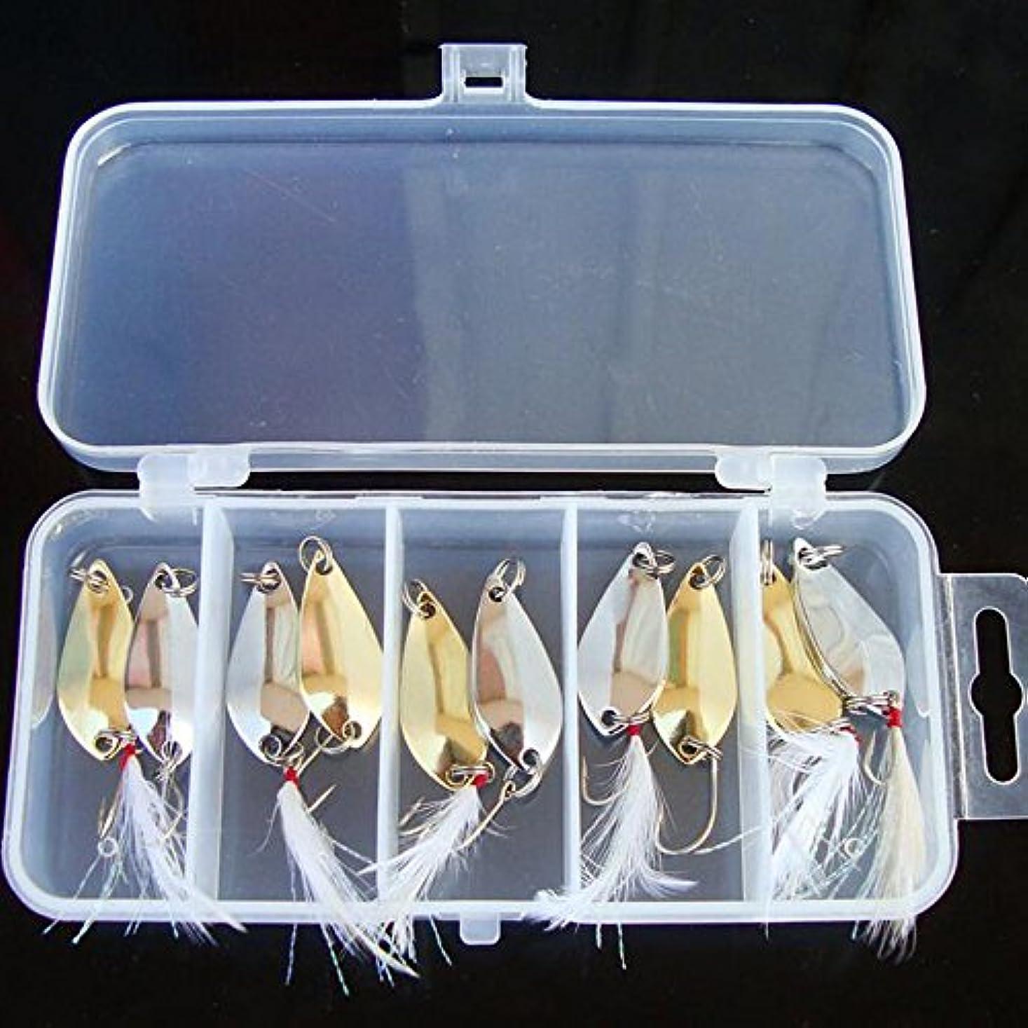 トークミルク職人AGadget釣りスプーンの海水淡水釣りキットタックルボックス10個入り2.5 – 5 g