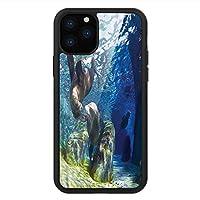 iPhone 11 Pro Max 用 強化ガラスケース クリア 薄型 耐衝撃 黒 カバーケース 海の動物 陽気なシーライオンズ iPhone 11 Pro 2019用 iPhone11ケース用