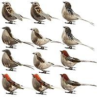 zlianhui 12ピース/セット鳥人工羽泡鳩結婚式の装飾会場装飾、工芸品の装飾小道具家の庭の装飾クリップ