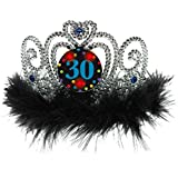 Amscan The Party Continuous 30th Birthday Party Flashing Tiara, Silver/black,