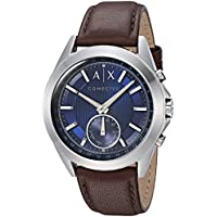 Armani Exchange Men's Digital Watch smart Display and Leather Strap, AXT1010