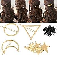 b1d4ed80342971 フレームピン ヘアバレッタ 髪留め ヘアクリップ 4本セット PIXNOR ヘアピン シンプル髪飾り ヘアアクセサリー ゴールド