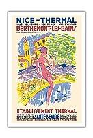 ニース、フランス - スパ - Berthemont-les-Bainsの、フランス - 健康 美しさ - ビンテージな世界旅行のポスター によって作成された アンリ・ル・モニエ c.1950 - アートポスター - 76cm x 112cm