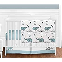 Bear Mountain Watercolor Baby Boy Crib Bedding Set without Bumper by Sweet Jojo Designs - 4 pieces [並行輸入品]