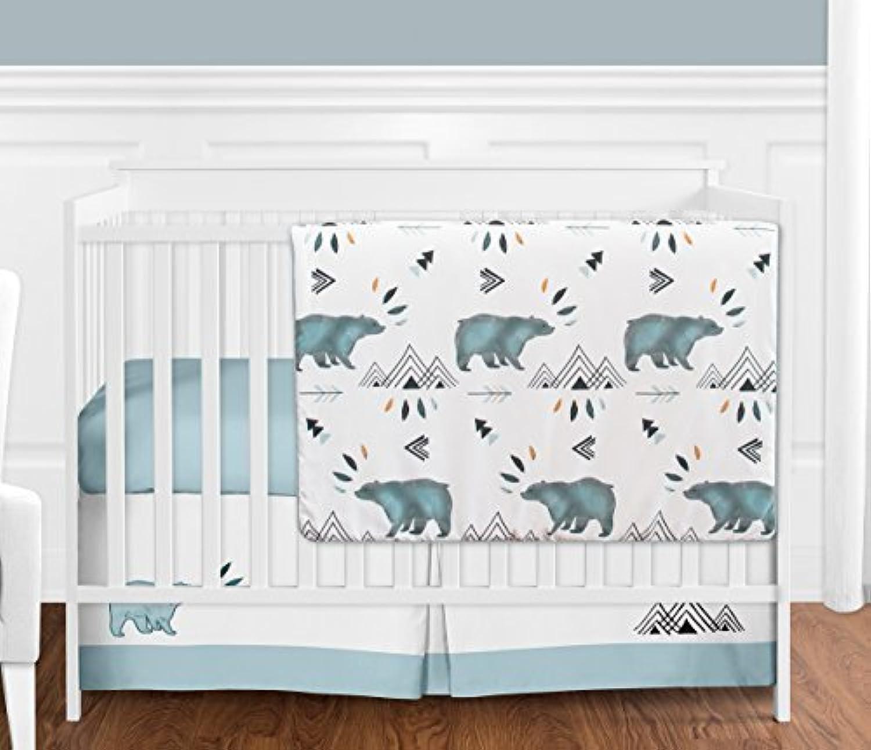 Bear Mountain Watercolor Baby Boy Crib Bedding Set without Bumper by Sweet Jojo Designs - 4 pieces [並行輸入品]