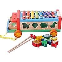 子供の教育車木製おもちゃ動物図形認識機能トレーラーOctaveスチール手Knocking Piano設定可能な形状おもちゃ