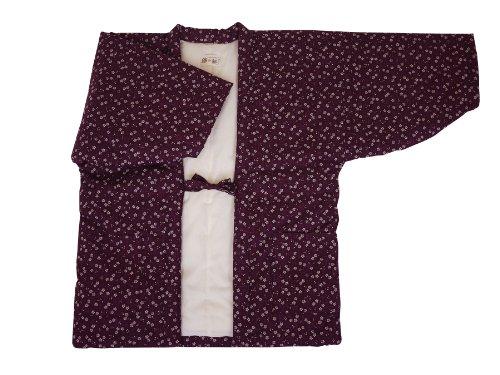 【小花柄女性用はんてん】還暦祝い・久留米袢纏・半纏・ちゃんちゃんこ・丹前・どてら (2) 紫