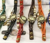 【アンティーク風 レザー ブレスレット ウォッチ リーフ チャーム付】本革 ベルト クォーツ腕時計