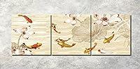 LB 油画 背景絵画 壁アート キャンバス油絵 3 Dバック壁 ハスの花のハスの花(木枠付きの完成品)40*40cm*3pcs