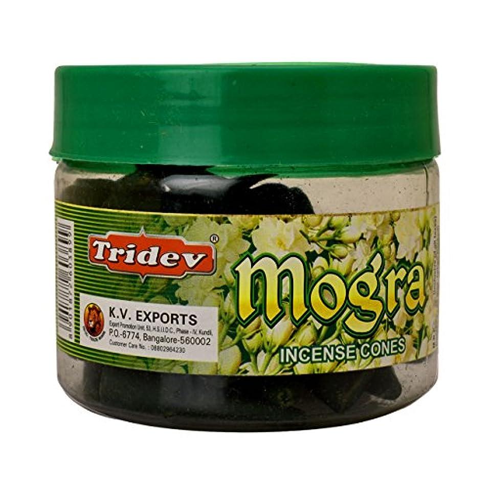 異常な深遠赤字Tridev Mogra Incense Cones Jar 90グラムパック