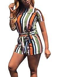 AngelSpace 婦人用ファッション2ピースのカジュアルなレジャーのストライプショートパンツセット