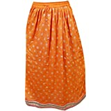 Womens Boho Hippie Skirt Golden Printed Cool Desire Rayon Long Skirts Small/Medium
