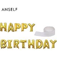 Anself アルミ箔 シャイニング 13文字「HAPPY BIRTHDAY」風船+100の風船りドット両面粘着テープ