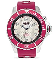 KYBOE! Power Stainless Steel Quartz Watch with Silicone Strap, red, 22 (Model: KY.48-027.15) [並行輸入品]