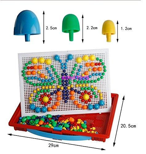 [해외]Vixker DIY 페그 보드 퍼즐 장난감 퍼즐 교육 장난감 모양 퍼즐 페그 보드 퍼즐 게임 장난감 컬러 버섯 손톱 퍼즐 버섯 모양 장난감 퍼즐 어린이 용 ABS 제 상상력 창의력 창의력 향상 색상 랜덤 (페그 296 개)/Vixker DIY Peg Board Puzzle Toy Jig...