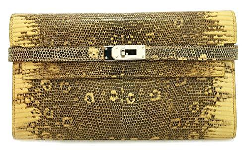 [エルメス] HERMES ケリーウォレット 3つ折長財布 リザード オンブレ シルバー金具 □M刻印