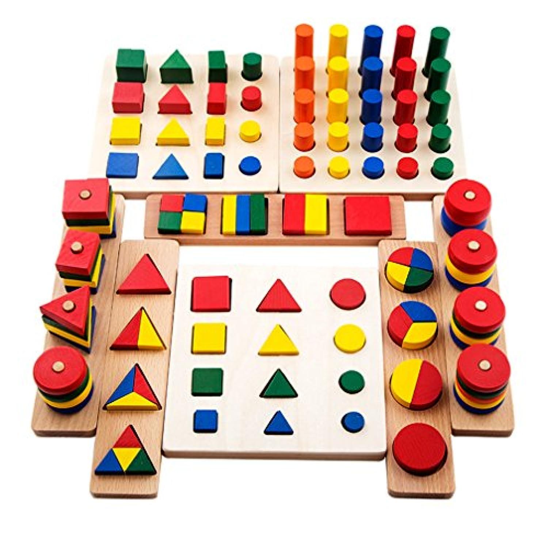 [ドリーマー] 8点セット 形合わせ 型はめおもちゃ 木製  立体パズル 棒挿し カラフル 可愛い 子供用 ベビー 赤ちゃん 色認識 幾何学 ご家族と 早期開発 出産祝い お誕生日プレゼント