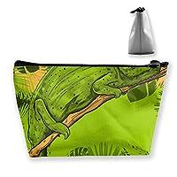 熱帯の葉のカメレオンの葉女性化粧バッグ多機能トイレタリーオーガナイザーバッグ、ハンドポータブルポーチ旅行洗浄ストレージ容量ジッパー付き(台形)